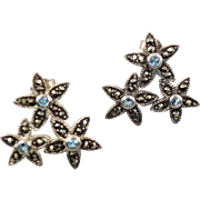 Marcasite Earrings, Blue Topaz, Sterling Silver, Flowers, Vintage Earrings, Pierced Post, Stat