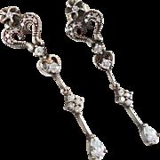 Long CZ Earrings, Sterling Silver, Vintage Earrings, Pierced Dangles, Rhinestone, Ornate Spark
