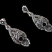 Marcasite Earrings, Black Onyx, Sterling Silver, Vintage Earrings, Pierced Dangles, Ornate Fil