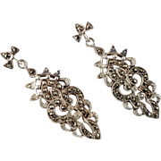 Marcasite Earrings, Sterling Silver, Vintage Earrings, Big Statement, Art Nouveau Inspired, Bl