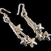 Star Earrings, Sterling Silver, Charm Earrings, Vintage Earrings, Large Big Long, Pierced ...