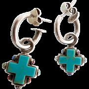Turquoise Earrings, Cross, Multi Stone, Sterling Silver, Vintage Dangle, Reversible, Pierced H