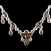 Garnet Necklace, Citrine Smoky Quartz, Sterling Silver, Multi Gemstone, Vintage Necklace, Mult