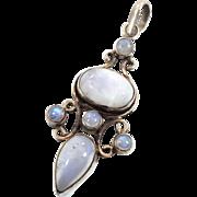 Moonstone Pendant, Large Multi Stone, Blue Gemstone, Sterling Silver, Vintage Pendant, Big Sto