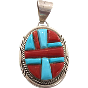 Turquoise Pendant, Red Coral, Vintage Pendant, Sterling Silver, Native American, Inlaid Inlay,