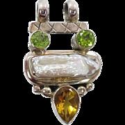 Citrine Pendant, Pearl Peridot, Sterling Silver, Vintage Pendant, Green Yellow, Multi Stone, .