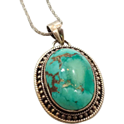 Turquoise Pendant, Sterling Silver, Turquoise Necklace, Vintage Jewelry, Copper Matrix, Big St
