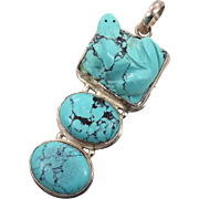 Turquoise Pendant, Carved Frog, Sterling Silver, Vintage Pendant, Big Statement, Multi Stone,