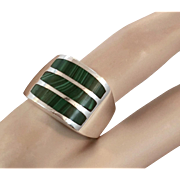 Malachite Ring, Sterling Silver, Vintage Jewelry, Green Stone, Heavy, Big Statement, Mens Mans