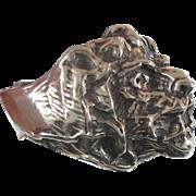 Lion Ring, Sterling Silver, Vintage Ring, Big Statement, Heavy Silver, Leo Jungle Animal, Huge