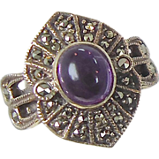 Marcasite & Purple Amethyst Sterling Silver Ring - Vintage Sparkling - Size 6 - InVintageHeave
