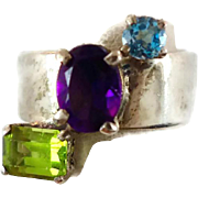 Blue Topaz Sterling Silver Ring - Peridot Amethyst - Stunning Piece - Size 8 - InVintageHeaven