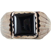 Black Onyx Ring, Sterling Silver, Native American, Signet Style, Vintage Ring, Big Statement,