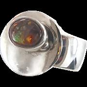 Boulder Opal, Sterling Silver Ring, Unique, Statement Ring, Vintage Modern, Large Big Huge, ..