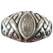 Celtic Knot Ring, Sterling Silver, Celtic Band, Marquise CZ Vintage Ring, Irish Jewelry, 925,