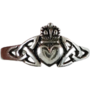 Claddagh Ring, Sterling Silver, Celtic Knot, Vintage Ring, Irish Jewelry, 925, Size 11, Irish