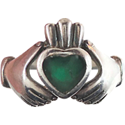 Claddagh Ring, Sterling Silver, Vintage Ring, Irish Jewelry, Celtic Ring, Green Stone 925, Siz