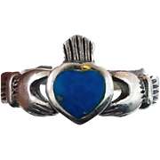 Claddagh Ring, Sterling Silver, Vintage Ring, Turquoise, Irish Jewelry, Celtic Ring, 925, Size