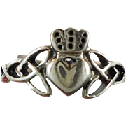 Claddagh Ring, Sterling Silver, Celtic Knot, Vintage Ring, Irish Jewelry, 925, Size 4.5, Irish