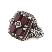 Tourmaline Ring, Sterling Silver, Vintage Ring, Multi Stones, Size 7, Art Deco Style, Art Nouv