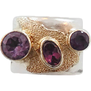 Tourmaline Ring, Purple Amethyst, Sterling Silver, Vintage Ring, Gold Accent, Unisex Mens Mans