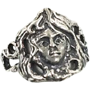 Goddess Woman Sterling Silver Ring - Vintage Detailed - Size 7 - InVintageHeaven