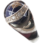 Earth Ring, World, Gemstone Stone, Vintage Ring, 925, Sterling Silver, CZs, Size 6 1/2 ...