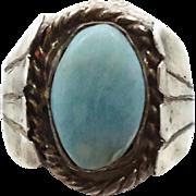 Larimar Ring, Blue Stone, Sterling Silver, Vintage Ring, Unisex Mens Mans, Size 8 1/2, Signet