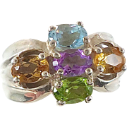 Gemstone Sterling Silver Ring - Blue Topaz Amethyst Citrine - Size 8 - InVintageHeaven