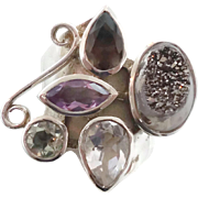 Druzy Ring, Sterling Silver, Multi Stone, Amethyst, Smokey Quartz, Peridot, Vintage Ring, Stat