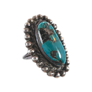 Turquoise Sterling Silver Ring - BIG Stone - Vintage Native American - Size 5.5 - InVintageHea