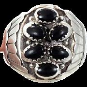 Black Onyx Ring, Sterling Silver, Native American, Vintage Ring, Big Statement, Signed EF, Man