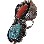 Turquoise Ring, Coral, Sterling Silver, Vintage, Native American, Signed, Old Dead Pawn, Big .