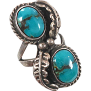 Turquoise Sterling Silver Ring - Vintage Long Native American - Size 5.5 - InVintageHeaven