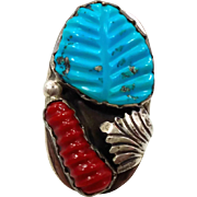 Turquoise Ring, Zuni Native American, Red Coral, Sterling Silver, Loyolita Tsatte, Signed, Men