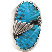Turquoise Ring, Carved Turquoise, Sterling Silver, Vintage, Native American, Mens Mans, Size 1