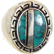 Turquoise Ring, Sterling Silver, Vintage Ring, Black Onyx, Inlaid Inlay, Native American, Stat