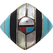 Native American Ring, Sterling Silver, Inlay Turquoise, Zuni Sun Face, Sunface, Size 6 1/2, MO