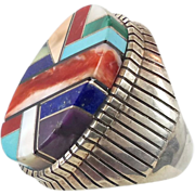 Sterling Silver Turquoise Ring - Vintage Signed Navajo American Big Unisex Mens - Size 10 1/4