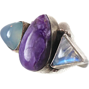 Moonstone Amethyst & Chalcedony Silver Ring - Vintage Unique - Size 6.5 - InVintageHeaven