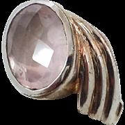 Rose Quartz Ring, Pink Stone, Sterling Silver, Vintage Ring, Faceted Gemstone, Size 9 1/2, Big