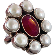 Ruby Ring, Pearl Ring, Sterling Silver, Vintage Ring, India Jewelry, Corundum, Large Stone, ..