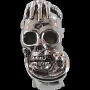 Skull Snake Ring, Vintage Ring, Sterling Silver, Gothic Jewelry, Biker, Mens Mans, Statement,