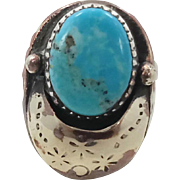 Turquoise Ring, Sterling Silver, Statement Ring, Vintage Ring, Mans Mens, Unique Unusual, Larg