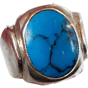 Turquoise Ring, Sterling Silver Ring, Vintage Ring, Big Statement, Mexico Mexican, Unisex Mans