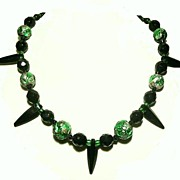 SALE Art Deco French Jet And Emerald Green Venetian Glass Necklace