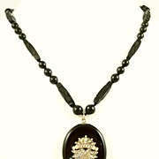 SALE Antique English Victorian Whitby Jet Gold Pearl Locket And Necklace