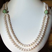 SALE Pearls Silver And Lampwork Glass Double Row  Necklace