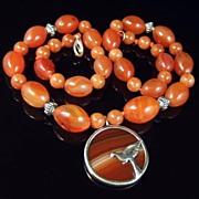 SALE Art Deco Carnelian & Silver Bird Pendant Necklace
