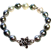 SALE Silver Charcoal White South Seas And Tahitian Pearls Bracelet